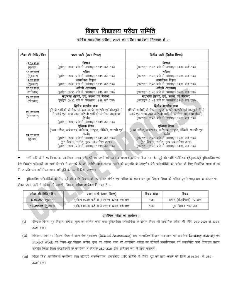 Bihar Board Exam Date 2021 Class 10