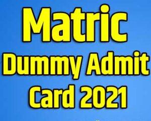 Bihar Board 10th Dummy Admit Card