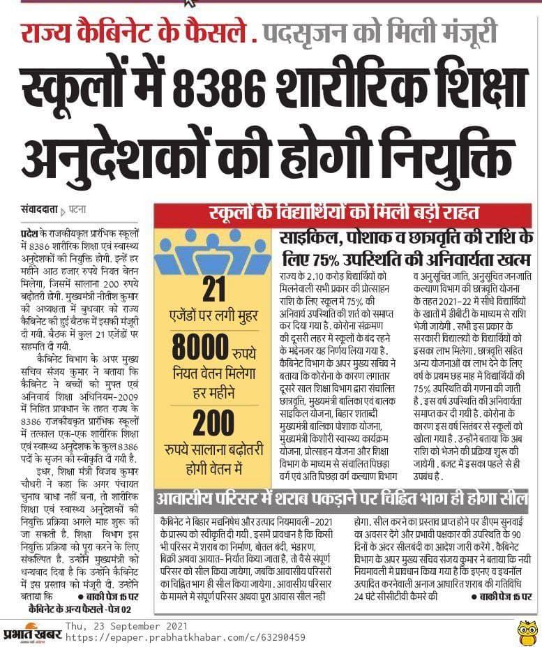 Bihar Physical Teacher Vacancy 2021