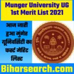 Munger University UG 1st Merit List